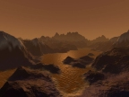 Rendering of ice mountains and methane lakes on Titan, credit: http://blogs.discovermagazine.com/sciencenotfiction/2010/08/25/life-on-titan/#.U_ODYsVdW5I