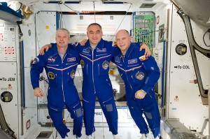 NASA astronaut Steve Swanson, Expedition 40 commander, along with cosmonauts Alexander Skvortsov and Oleg Artemyev, both flight engineers with the Russian Federal Space Agency, return to Earth Sept. 10 after six month aboard the International Space Station.  Credit: http://www.nasa.gov/press/2014/september/nasa-television-to-broadcast-sept-10-return-of-space-station-crew/#.VA8_9sJdW5